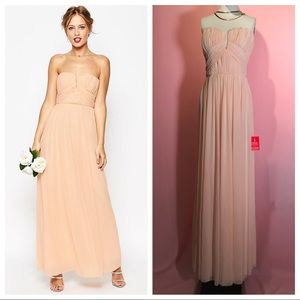 BNWT ASOS $120 ruched bodice strapless maxi dress